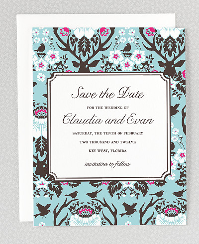 Woodland Damask Letterpress Save the Date Card