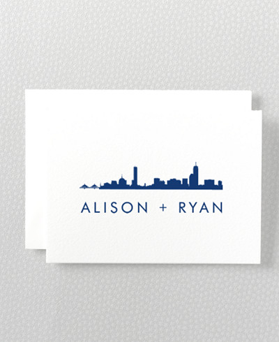 Boston Skyline Folded Note Card