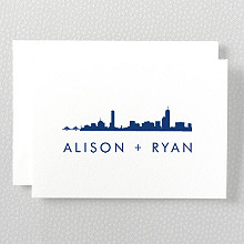 Boston Skyline---Folded Note Card