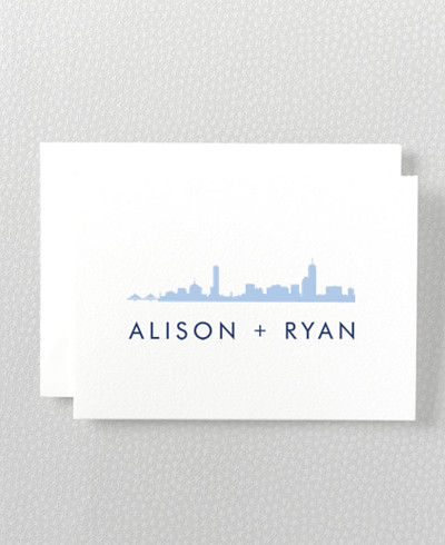 Boston Skyline Letterpress Folded Note Card