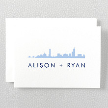 Boston Skyline---Letterpress Folded Note Card