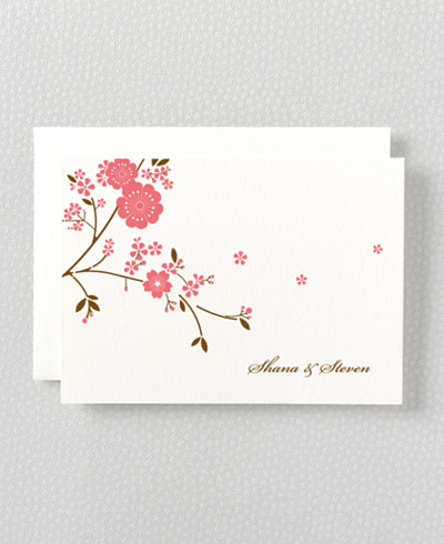 Cherry Blossom Letterpress Folded Note Card