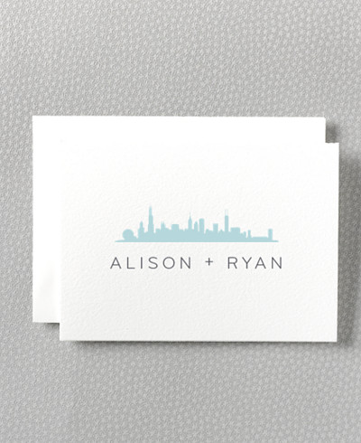 Chicago Skyline Letterpress Folded Note Card