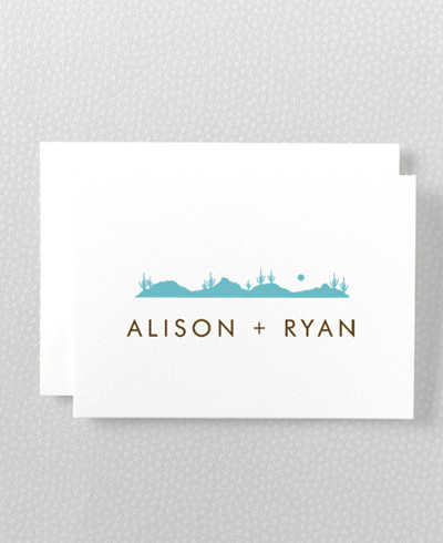 Desert Skyline Letterpress Folded Note Card