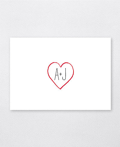 Big Day Hearts Letterpress Folded Note Card