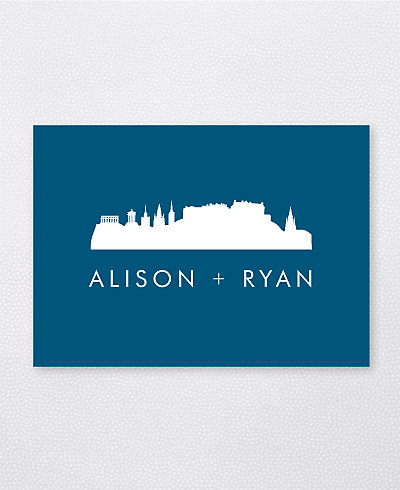 Edinburgh Skyline Folded Note Card