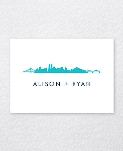 Portland Skyline Folded Note Card