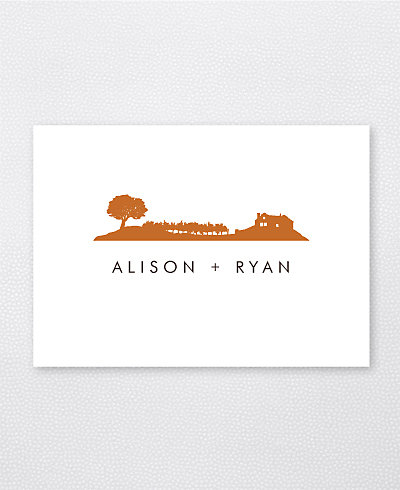 Wine Country Skyline Folded Note Card