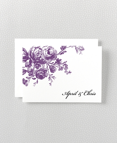 Gothic Rose Letterpress Folded Note Card