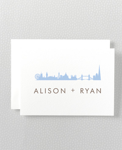 London Skyline Letterpress Folded Note Card