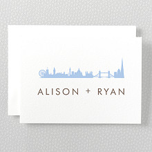 London Skyline---Letterpress Folded Note Card