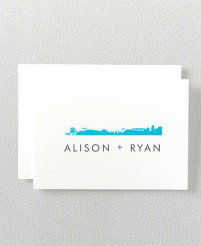 Los Angeles Skyline Letterpress Folded Note Card