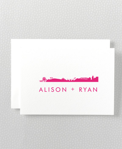 Los Angeles Skyline Folded Note Card