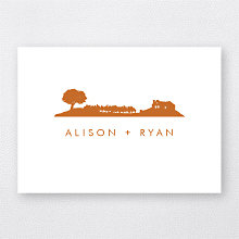Wine Country Skyline - Letterpress Folded Note Card