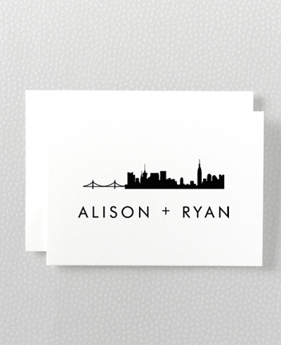 New York Skyline Letterpress Folded Note Card