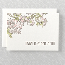 Nouveau Peonies - Folded Note Card