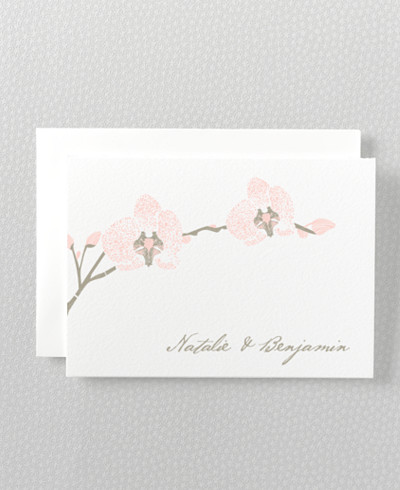 Orchid Letterpress Folded Note Card
