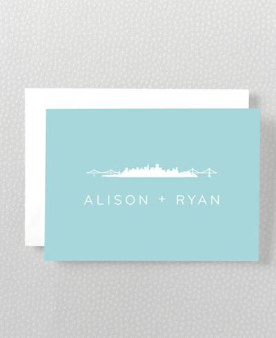 San Francisco Skyline Folded Note Card