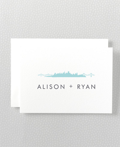 San Francisco Skyline Letterpress Folded Note Card