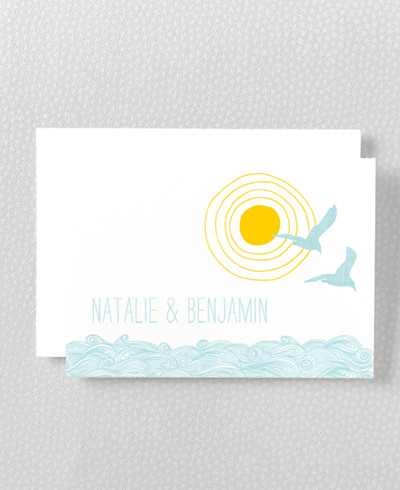 Seagulls Letterpress Folded Note Card