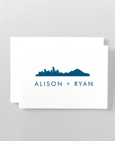 Seattle Skyline Folded Note Card