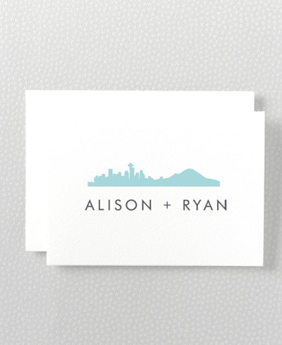 Seattle Skyline Letterpress Folded Note Card