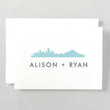 Seattle Skyline---Letterpress Folded Note Card
