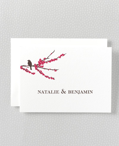 Sparrows Letterpress Thank You Card
