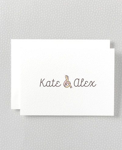 Tie The Knot Letterpress Folded Note Card