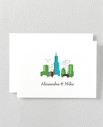 Visit Chicago Letterpress Folded Note Card