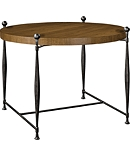 Ionia Side Table with Round Wood Top