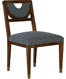 Half Moon Dining Side Chair w/Solid Light Gold Painted Sabots