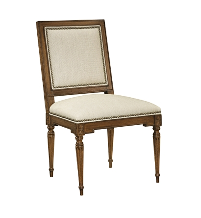 Louis xvi square back side chair from the atelier collection by hickory chair furniture co - Louis th chairs ...