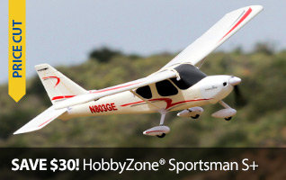 Save $40 on the HobbyZone Sportsman S+ RTF and BNF Trainer RC Airplane