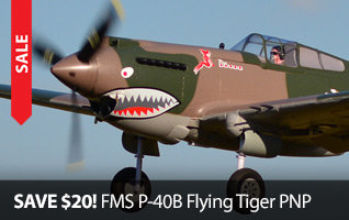 Save $20 on the FMS P-40B Flying Tiger PNP Scale Warbird RC Airplane