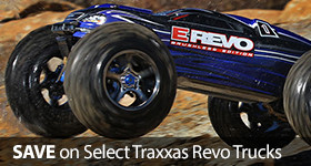 Save on Select Traxxas Nitro Electric 1/16 Scale Revo Trucks
