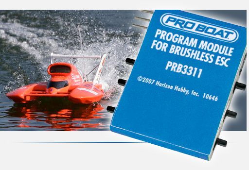 Article header image, Pro Boat Hydro in action with the Program Module for Brushless ESC in the foreground.