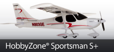 HobbyZone Sportsman S+ RC Airplane with SAFE Plus Technology