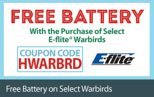 Free Battery with purchase of select E-flite RC Wardbird Aircraft