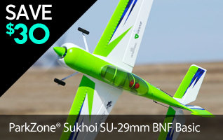 Save $30 on the ParkZone Sukhoi SU-29MM BNF Basic Aerobatic RC Airplane