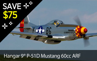 Save $75 on the Hangar 9 P-51D Mustang 60cc ARF Scale RC Warbird Airplane