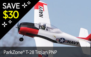 Save $30 on the ParkZone T-28 Trojan PNP Black Friday Doorbuster