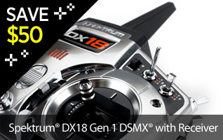 Save $50 On the First Generation Spektrum DX18 Transmitter Radio Black Friday Cyber Week Doorbusters