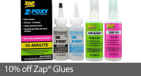 Save 10% on Select ZAP RC and model adhesives