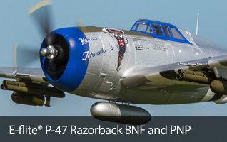 E-flite P-47 Razorback RC Warbird Airplane