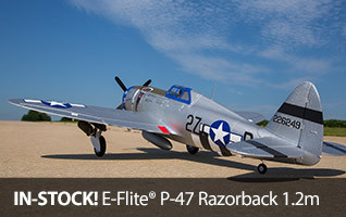 E-flite P-47 Razorback 1.2m 1.2 Meter Warbird WWII Fighter BNF Basic PNP Plug-N-Play Bind-N-Fly