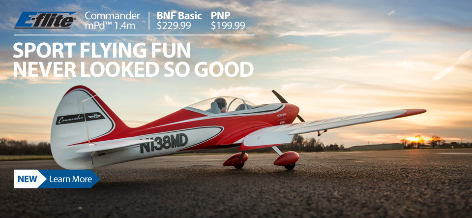 Just announced - The E-flite Commander 1.4m mPd sport park flyer RC Airplane