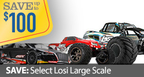 Save up to $100 off of select Losi Large Scale MTXL Monster Truck DBXL Desert Buggy XL Audi LST XXL2