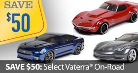 Save $50 off select Vaterra On Road Sedan Touring Cars Corvette Mustang