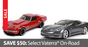 Save $50 off select Vaterra On Road Sedan Touring Cars Corvette Mustang